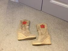 Anna Sui Suede Wedged Boots Size 35