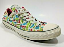 Converse All Star Low Womens 10 Sneakers Peace Love Rock & Roll Cartoon Animals
