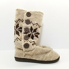 B59 Muk Luks Cable Knit Button Up Slipper Boots Brown Foldover Mukluk 10