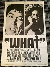 WHAT Original One-Sheet Poster 1965 Christopher Lee VG+