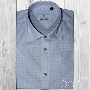 Chemise Homme Casual Basic 100% Coton Motif Micro Bleu Manches Longues Slimfit
