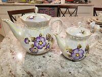 Unique and Elegant Pearl Luster 63pc Violet Porcelain Dinnerware Set for 8