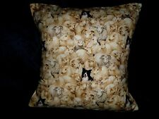 """Border Collies 16"""" Pillow Cover Makower Fabric Rare Out Of Print"""