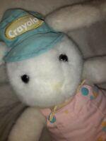 "Vintage 1990 Hallmark Crayola Plush White Bunny Overall Hat Painter pink toy 14"""