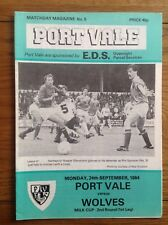 Port Vale V Wolves Milk Cup League Cup 2nd Round 1984 Wolverhampton Wanderers