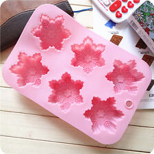 New 6-Snowflake Silicone 3D Candy Chocolate Cake Cookie Cupcake Soap Mold Mould