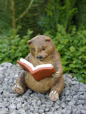 Miniature Dollhouse FAIRY GARDEN ~ Baby Bear Reading a Book ~ NEW