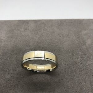 New designer A Jaffe 18k yellow white two tone gold band ring 6mm wide 9.6g 10.5