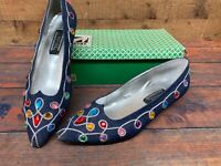 Vtg 80s J Renee Womens Shoes Size 9M Denim Blue Studded Jeweled Jewels Gorgeous