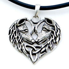 "Wolf Pair Pendant 1.5"" NEW Pewter Celtic Triquetra Wolves Love Amulet - US Made!"