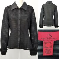 JS Collections Womens 14 Black Sheer Stripes Beaded Evening Wide Cuffs Blouse