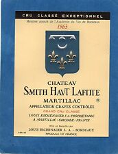 GRAVES GCC VIEILLE ETIQUETTE CHATEAU SMITH HAUT LAFITTE 1963  §12/03/17§
