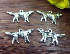 6pcs dog Tibetan Silver Bead charms Pendants DIY jewelry 25x15mm J107