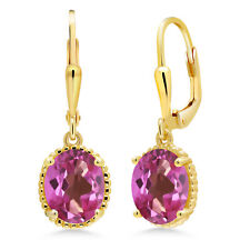 18K Yellow Gold Plated Silver Earrings 3.60 Ct Oval Pink Mystic Topaz