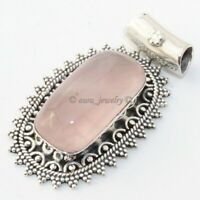 Natural Rose Quartz Solid 925 Sterling Silver Pendant Necklace Gift Jewelry