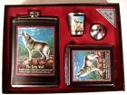 CIGARETTE CASE FLASK AND SHOT GLASS SET WITH WOLF drink gift set new