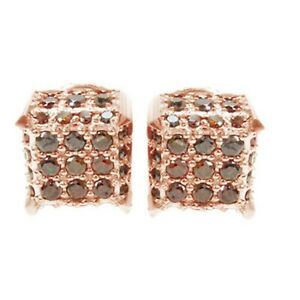 14K Rose Gold Over Round Brown Simulated Diamond Cube Cluster Stud Earrings