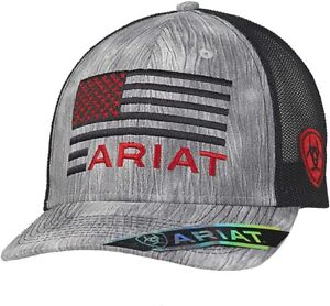 Ariat Mens US Flag Logo Mesh Adjustable Snapback Cap Hat (Grey/Black)