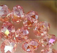 70  PCS , 6X8 mm AB Pink Faceted Crystal Gemstone Abacus Loose Beads