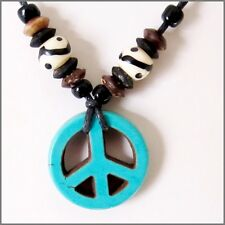 PEACE SIGN CHARM PENDANT ADJUSTABLE CORD NECKLACE WOOD BEADS mens womens hippie