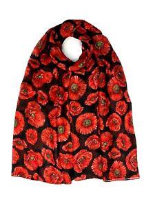 NEW Poppy Print Scarf Women Fashion Soft  Lightweight Scarves  Shawl Cover Up
