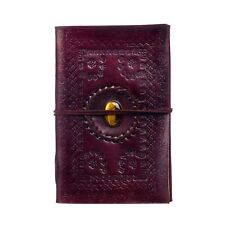 Embossed and Stoned Leather Journal, 125 Unlined Recycled Paper Notebook Diary
