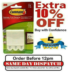 3M Command Strips Self Adhesive Strong Picture Frame Damage Free Hanging Strips