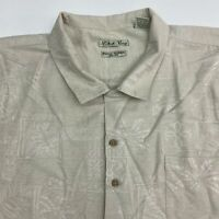 Batik Bay Button Up Shirt Men's Size 4XB Short Sleeve Tan Floral Print 100% Silk