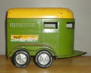 Vintage NYLINT STABLES Horse Trailer Green & Yellow Pressed Steel