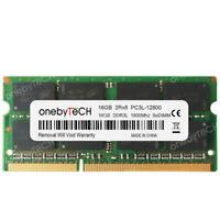 16GB 1x16GB PC3L-12800S DDR3 1600 MHz 204Pin CL11 1.35v SoDimm Laptop Memory RAM