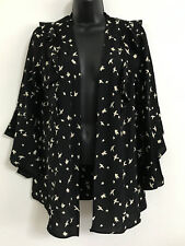EX DP Bird Print Black Ruffles long Bell Flare Sleeve Blouse Wrap Top Size 10-22