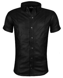 Lederhemd schwarz Hemd XXL Kurzarm Leder NEU leather shirt new black  2XL cuir