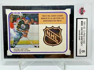 1981-82 KSA 8 O-PEE-CHEE LEAGUE LEADER WAYNE GRETZKY OPC NHL SHIELD SUBSET