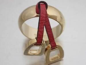 Auth Gucci Scarf Ring Charm Red/Goldtone Metal/Leather - e48238a