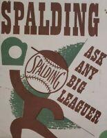 1930s Spalding Lg Baseball Advertising Mailer Poster Shoes Shirts Joe Di Maggio