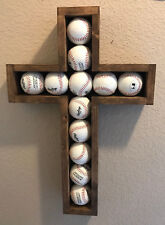 Large Hand-crafted Wooden Shadow Box Cross for Baseball's Walnut