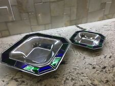 Zepter Console or Serving Plates set Stainless Vetro di Murano Glass Mosaic Edge