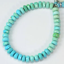 """155CT Sleeping Beauty Turquoise Faceted Rondelle Beads 9"""" Strand"""