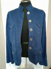 Chico's Women's Royal Blue Lightweight fabric button up jacket Size 1(M) Stretch
