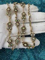 "Vtg.Gold Tone Aurora Borealis Stones High Quality Rhinestones Necklace 18""long"