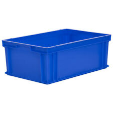 Stacking Solid Euro Container 600x400x220mm 43L Large Plastic Box Crate Tote