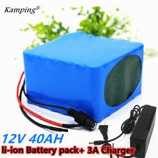 12V Battery 40Ah Rechargeable Protable Li-ion Lithium Batterie + DC 12V Charger