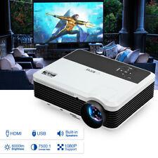LED LCD 7500:1 Full HD Heimkino Beamer Projektor Video Spiele TV HDMI USB 6000LM