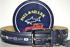 PAUL & SHARK BELT LEATHER SIZE 140 shortened  Gürtel  6100 COL. 013 BLU WITH BOX