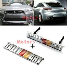 Metal RALLIART Front Grill Grilles PLUS Rear Emblem Badge Sticker for Mitsubishi