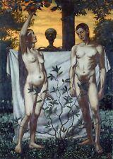 Hans Thoma Adam & Eve Apple Garden of Eden Satan Devil Temptation 7x5 Inch Print