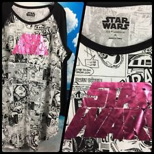 Star Wars Comics Long Jersey Tshirt Nightie Pink Foil Lucas Film XL
