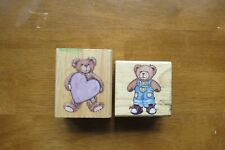 Two wooden Teddy Bear rubber stamps