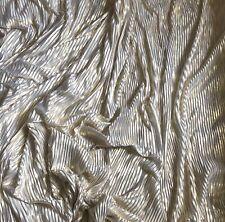 "1 X Meter Gold Metallic Pleated Lame Fabric Strech 58"" Wide Bridal Fancy Dress"