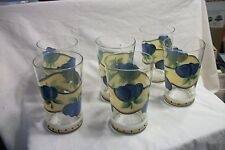 New listing Tumblers Glass Hand Painted Floral Design - Set of 6 - Guc
